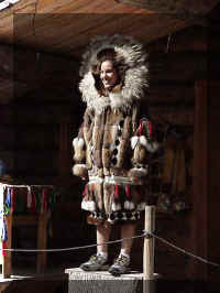 Front view of a beautiful native Alaska fur parka - photo taken on riverboat trip.