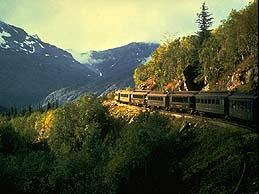 Train winds its way through the Interior Alasks landscape.
